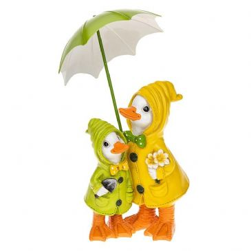 Puddle Duck Mum and Baby with Green Umbrella Ornament Figurine